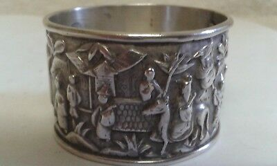 Beautifully Embossed Chinese Silver Napkin Ring - Hallmarked - 28 gms.