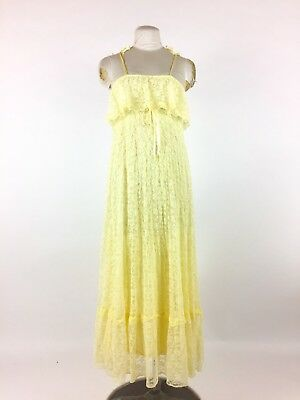 Vintage 1960s Yellow Lace Dress Ruffle Sundress Maxi Boho Hippie Festival