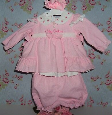 8. Stunning pink ginham smocked, romany, vintage, traditional style dress+ bloom