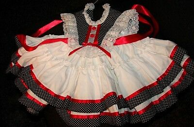 Professional Seamstress Home Sewn Baby Dress Blk Red & White Size 3-6 Months NEW