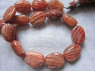 9 inch sunstone carved oval beads one strand