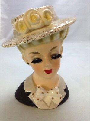 "Beautiful Vintage Hand Painted 6"" Unmarked Lady Head Vase #82"