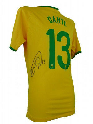 Dante Signed Brazil Football Shirt + Photo Proof *see Dante Sign The Shirt*