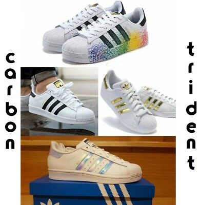 Adidas Superstar Donna Iridescent Originals Scarpe  Uomo Pride Nere Gold