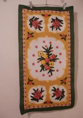 Vintage CHRISTMAS TABLE RUNNER w/BOUGH/STARS/TOADSTOOLS/ORNAMENTS/POINSETTIA~NOS