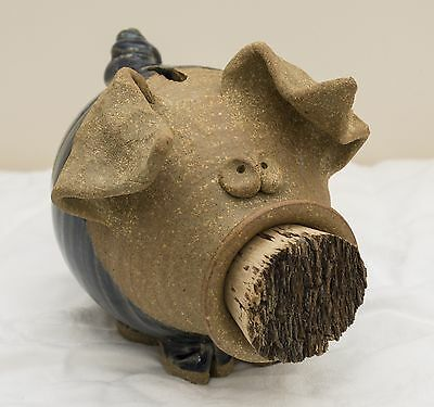USA-Made Blue/Tan Stoneware Piggy Bank w/ Cork Snout Crafted by The Potters