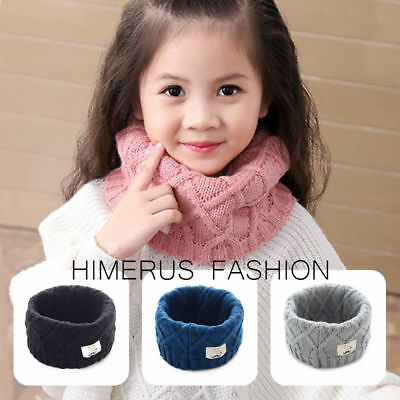 Winter Kids Baby Girl Boy Collar Scarf O Ring Neck Warm Knitted Infinity Scarves