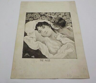 Victorian THE KISS - c1898 Monochrome Watercolour Signed Isaac Makin *Salford*