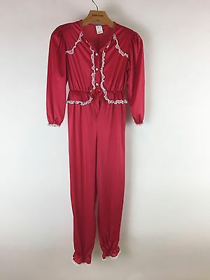 Vintage 1970s Girls Red Pajamas One Piece White Lace Christmas Holiday