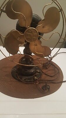 "rare 9"" emerson brass bladed fan w/ brass cage"