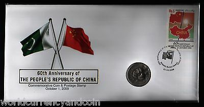 PAKISTAN 10 RUPEES 2009 60th CHINA COMMEMORATIVE UNC COIN + 5 RUPEES STAMP FDC