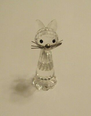Crystal Cat with Silver Tail & Whiskers & Black Eyes Figurine