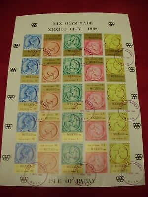 GB British Local Pabay Complete Sheet 1968 Mexico Olympics Imperf CTO 5 Sets