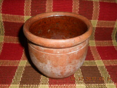 18th CENTURY PA REDWARE CANNING JAR NICE SMALLER SIZE W SPOTTED INTERIOR GLAZE