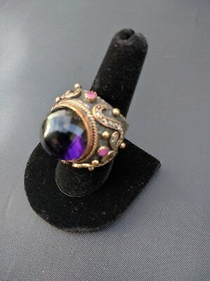Women Ring 925 Sterling Silver Bronze Amethyst Cocktail Vintage Style Size 8