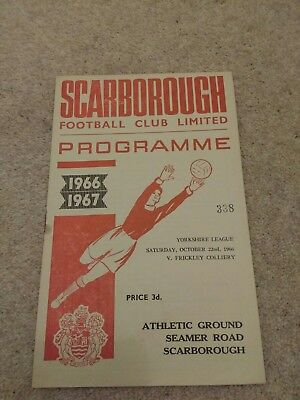 Scarborough Fc  V Frickley Colliery Programme 1966/67