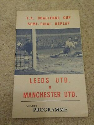 Leeds United V Manchester United Fa Cup Semi Final Replay Programme 1964/65
