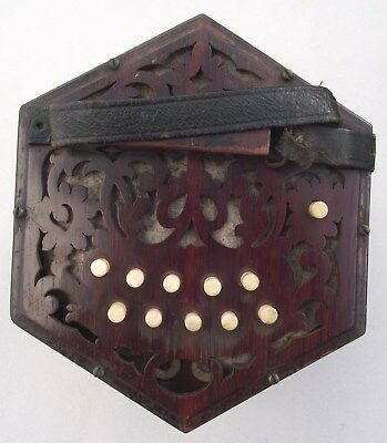 Antique Concertina In Rosewood 21 Keys Working Fine