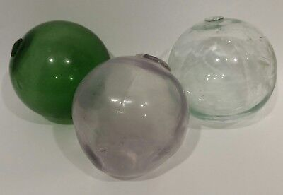 "Vintage Nautical  5"" Diameter Hand Blown Glass Fishing Float Buoy Set of 3 Mixed"