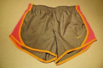 NIKE Dri-fit Running Work Out Shorts Size M Gym Gray Pink Yellow Women's