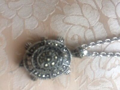 Marcasite Turtle Watch Necklace
