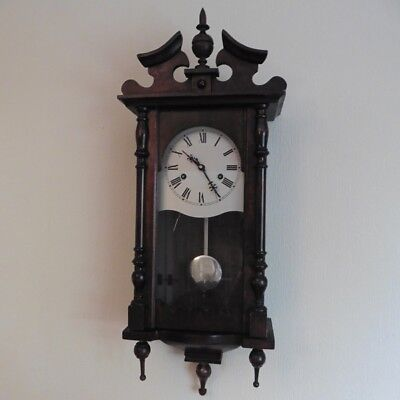 c1980s REPRODUCTION VICTORIAN STYLE SOLID WOOD CASE STRIKING 8 DAY WALL CLOCK