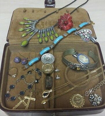 A Job Lot Of Vintage Jewellery And Jewellery Box