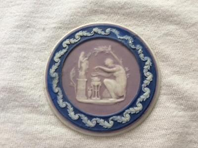 """Wedgwood 18th century tricolor 2 1/4"""" jasper medallion lilac cobalt white AS IS"""