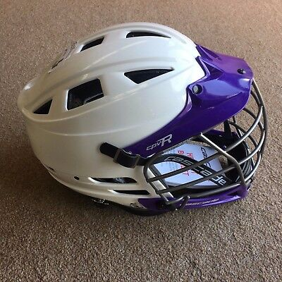 Cascade CPV-R Lacrosse Helmet - White Shell, Purple Chin and Visor,  Chrome Mask