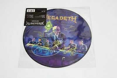 Megadeth Signed Rust In Peace Picture Disc Rare Nick Menza Dave Mustaine W/proof
