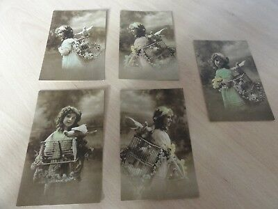 5 Old Unused Postcards - Girl with Birds in Cage