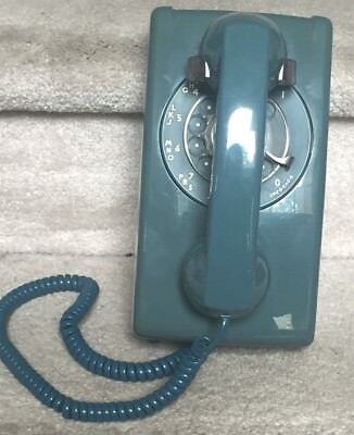 Vintage AT&T Blue Telephone Rotary Dial Wall Phone 1970s