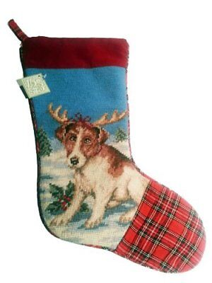 Festive Jack Russell Terrier Dog Needlepoint Christmas Stocking