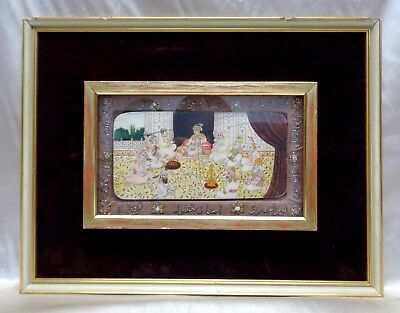 Antique Fine Indian Miniature Painting w. Shiny Threaded Calligraphy & Flowers