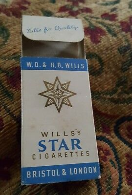 vintage collectable wills star  10 cigarette  packet