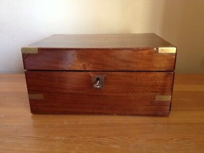 Antique Large Wood And Brass Writing Slope Campaign Box