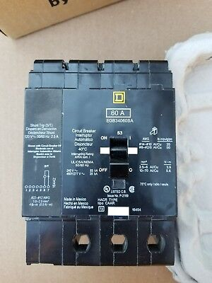 New Square D Egb34060Sa Shunt Trip Circuit Breaker 60A 3 Pole