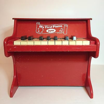 Vintage Mini Red Wood Piano For Kids - Jaymar - My First Piano