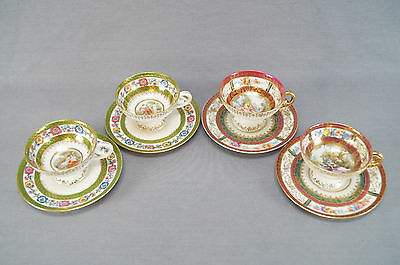 Lot of 4 ES Prussia Royal Vienna Style Cabinet Cups & Saucers 1891 - 1937 AS IS