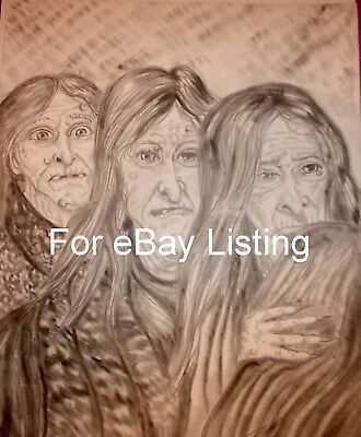 Luciano Original  Charcoal Sketch The Three Halloween Witches