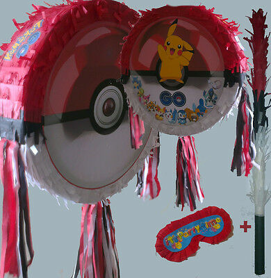 Pokeball Pinata set Kids Smash Party Fun Stick Pokemon poke ball Red pikachu UK