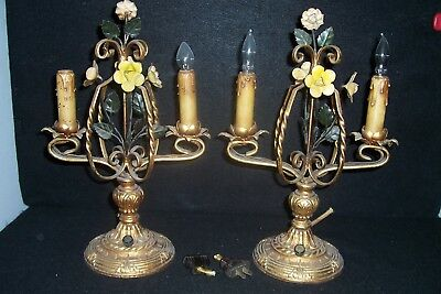 "Antique Wrought Iron Mantle Buffet Lamps French Style 14"" PAIR"