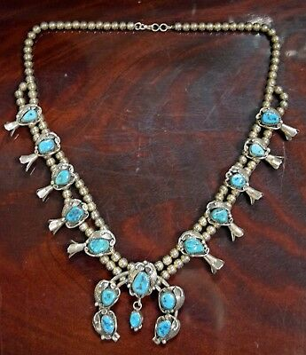Lh Signed Navajo Sterling Silver And Turquoise Squash Blossom Necklace