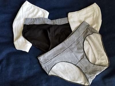 SIZE 6 M - HANES Cotton/Poly Hipster Lot of 4 - Black White