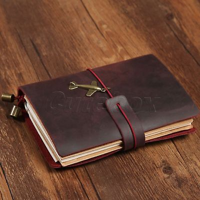 Wine Red Leather Handcraft Travel Notebook Retro Notepad Journal Diary Passport
