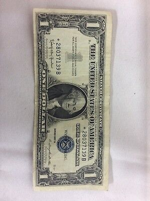 1957-B $1 US Silver Certificate Blue Seal Star Note