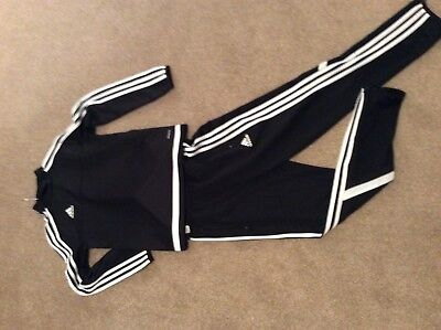 Boys black /white atrip ADIDAS Tracksuit, Excellent condition age 9-10