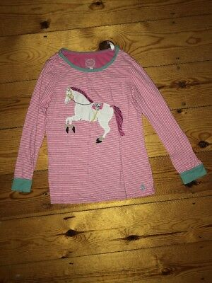 Joules Girls Pink Stripe Horse Top Size 7 Years