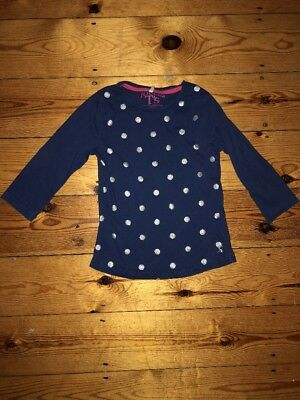 Joules Girls Navy Blue Top With Silver Spots Size 9-10 Years