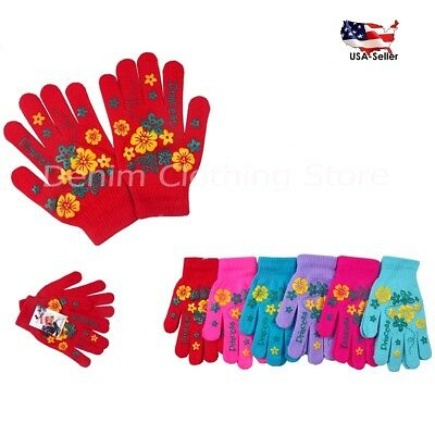 6, 12 Women's Girl Flower Printed Warm Knit Knitted Magic Winter Gloves Xmas Lot